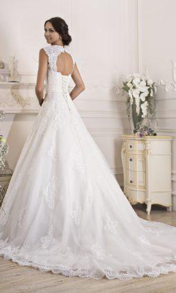 Элегантное свадебное платье «принцесса» с кружевным верхом, который можно снять.