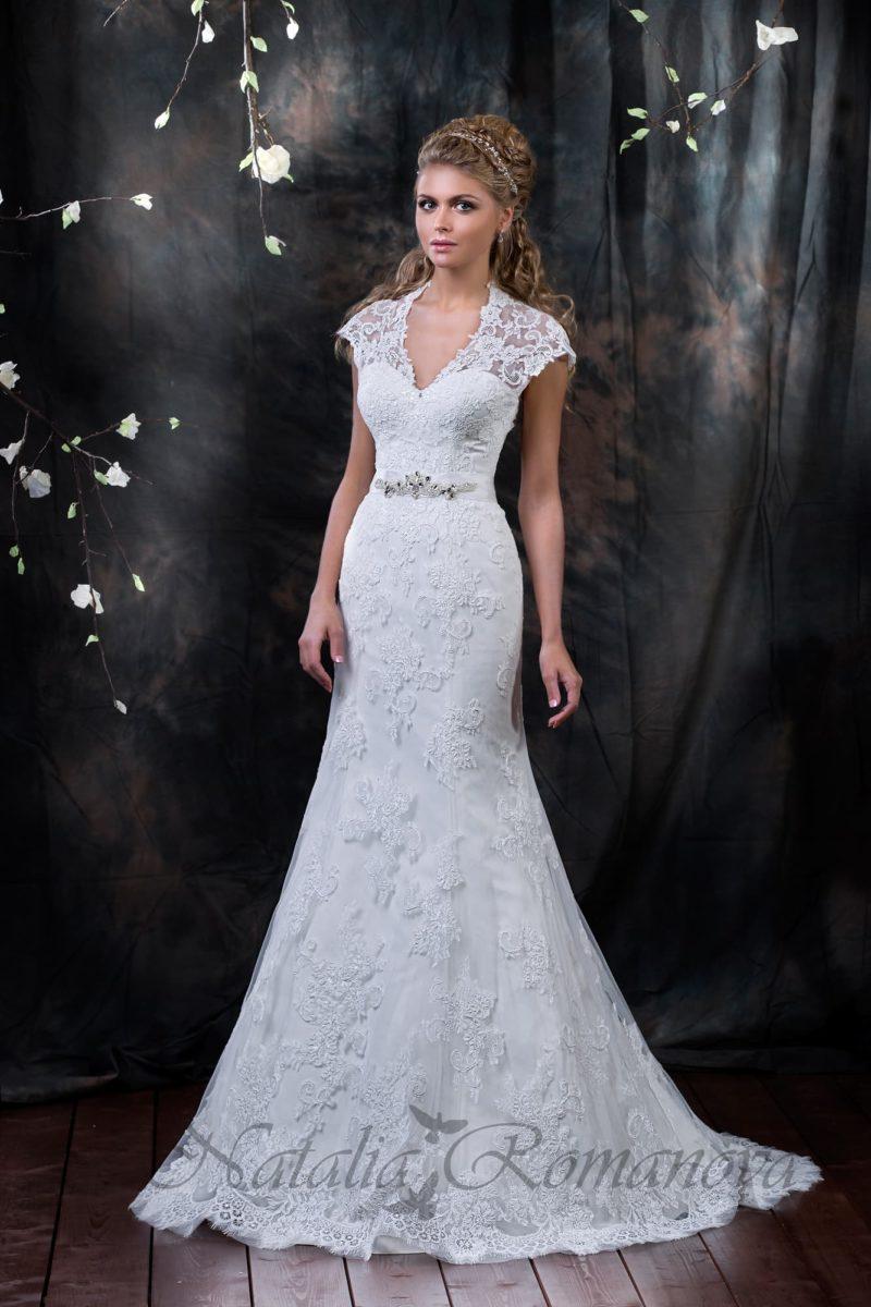 Кружевное свадебное платье с юбкой силуэта «рыбка»