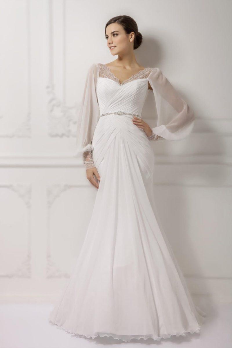 Свадебное платье ретро с широкими рукавами