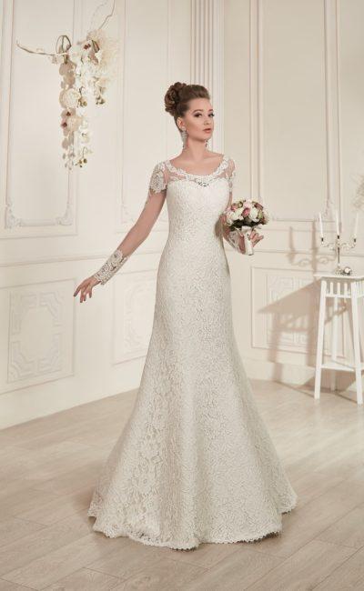 Свадебное платье с прозрачными рукавами