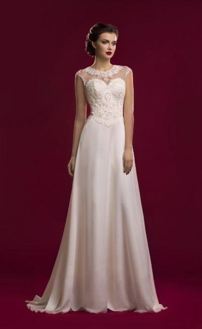 Свадебное платье прямого силуэта с изысканным закрытым верхом с вышивкой.