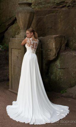 Свадебное платье с ажурной вставкой