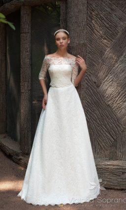 Свадебное платье с ажурным болеро