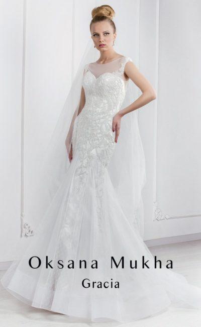 Фактурное свадебное платье «рыбка»