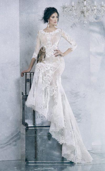Закрытое кружевное свадебное платье