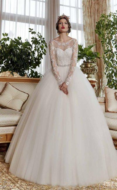 свадебное платье с длинными ажурными рукавами