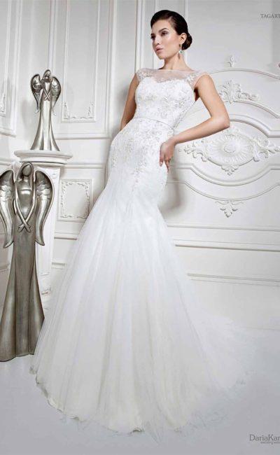 свадебное платье «рыбка» с узким поясом