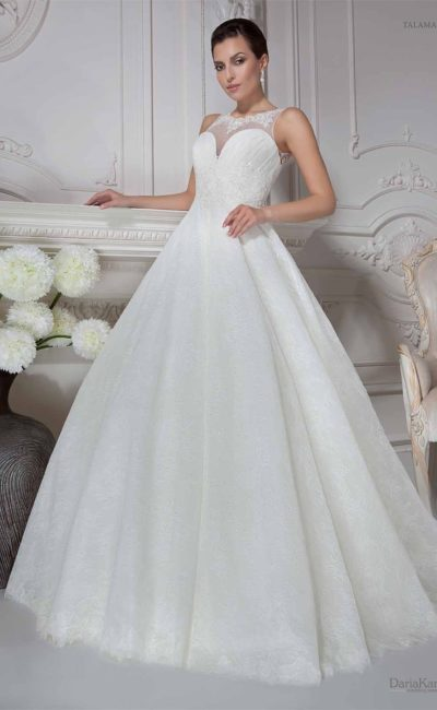 свадебное платье  с округлым вырезом сзади