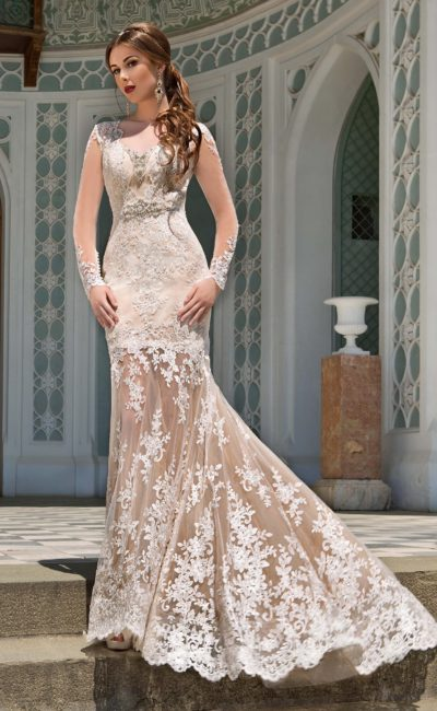 Ажурное свадебное платье рыбка