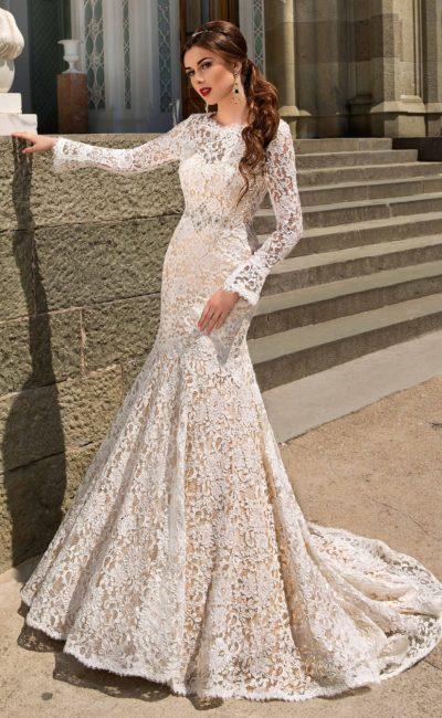 Кружевное свадебное платье силуэта «рыбка»