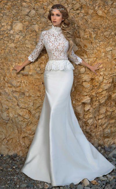 Атласное свадебное платье силуэта «рыбка»