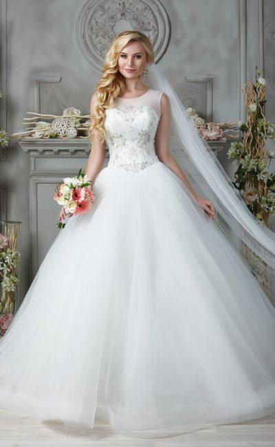 свадебное платье с бисерной вышивкой