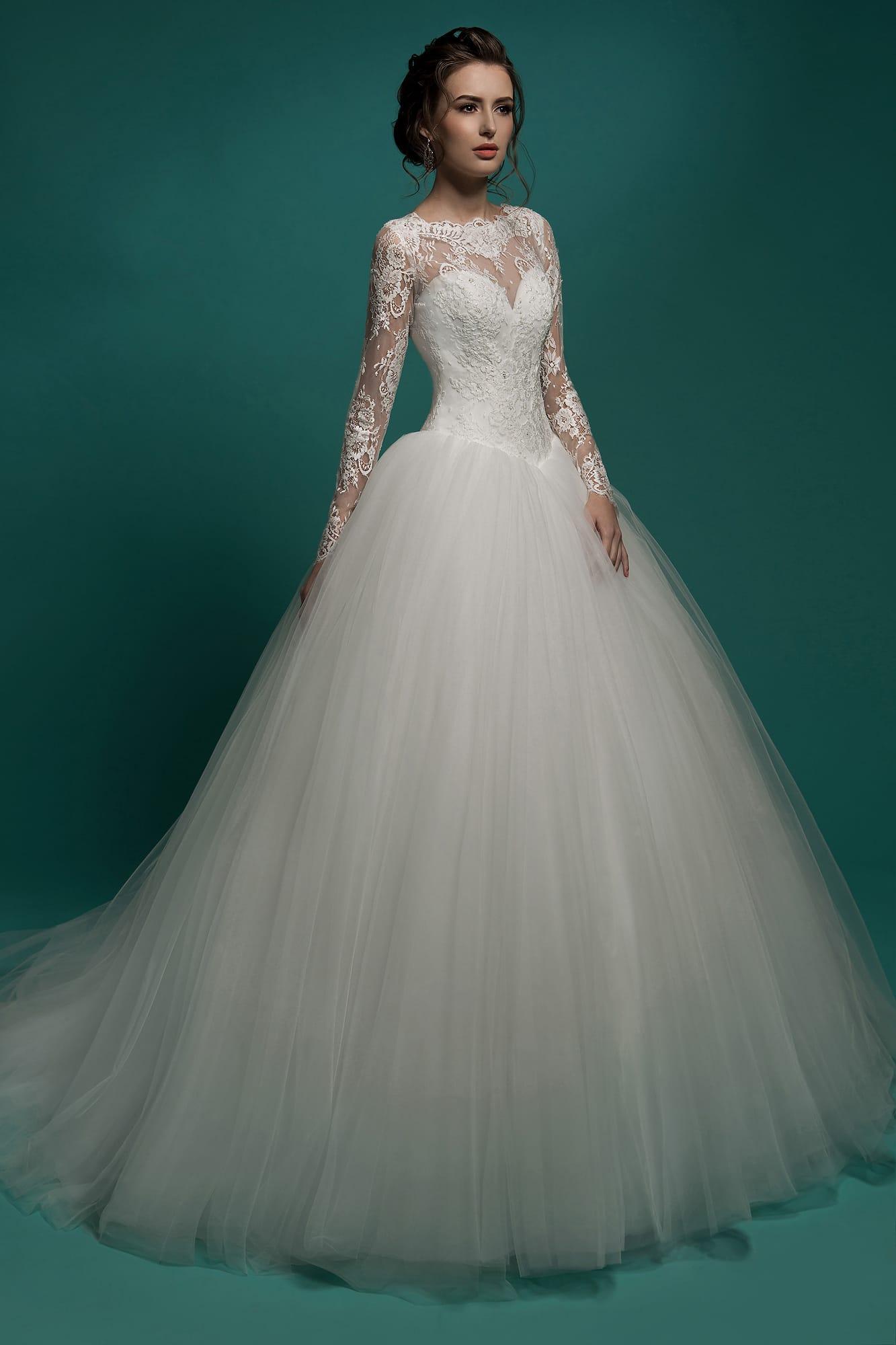 свадебные платья с закрытым верхом кружево фото