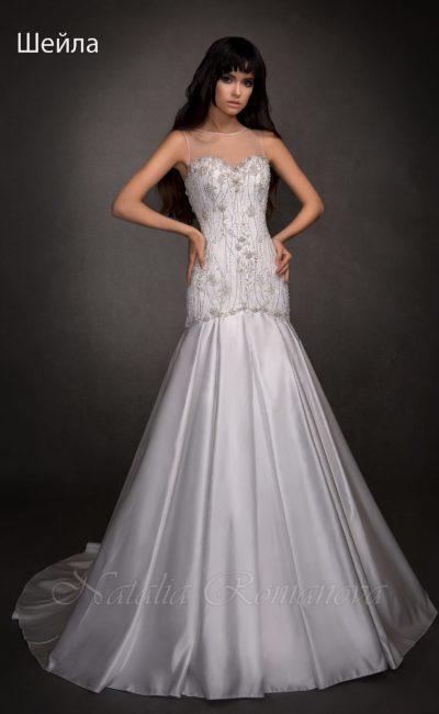 платье с отделкой серебристым бисером