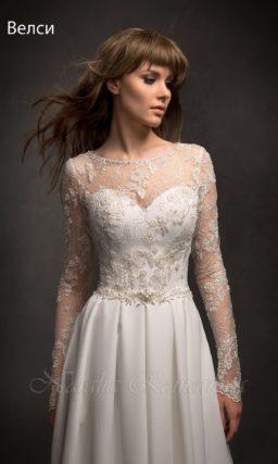 Закрытое свадебное платье «принцесса» с атласной юбкой со скрытыми карманами.