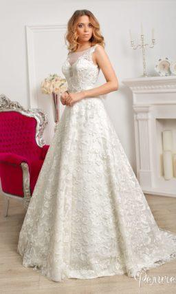 Свадебное платье силуэта «принцесса» с декором из крупного кружева на тонкой подкладке.