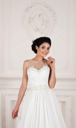 Свадебное платье из атласной ткани, с вырезом на спинке и небольшим шлейфом