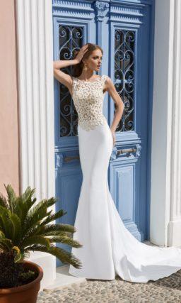 Платье «рыбка» с ажурным верхом