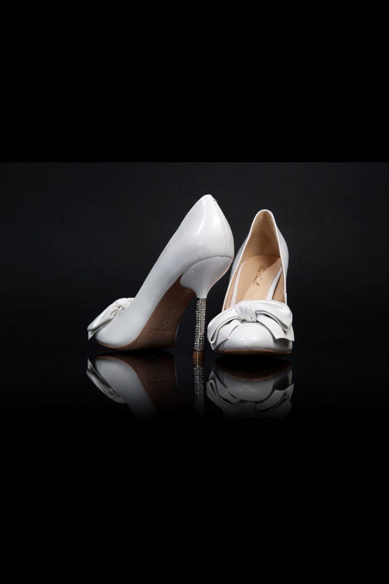 Свадебные туфли с элегантным бантом на носке и сияющим каблуком-шпилькой 12 см.