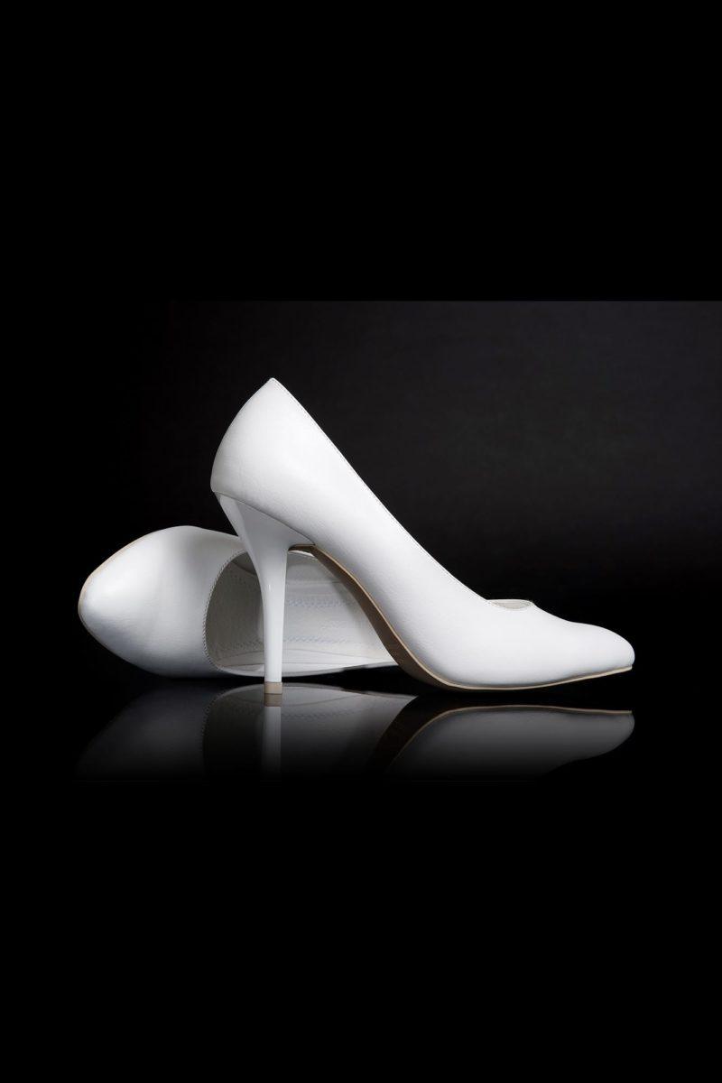 Элегантные свадебные туфли из белой кожи с каблуком-шпилькой 12 см.