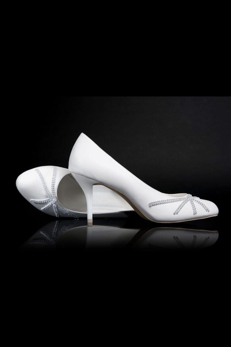 Свадебные туфли со «звездной» вышивкой бисером и изящными каблуками 7 см.