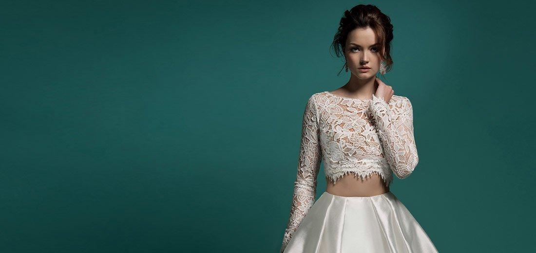 Свадебные платья Crop Top - раздельные топ и юбка