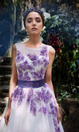 ▶▶Пышное свадебное платье с фиолетовой вышивкой на закрытом лифе. ❤ Более 10000 платьев! ❤ Скидки до 70%! ❤ Подарки невестам! ☎ +7 495 724 26 05 ▶▶ Свадебный центр Вега Ⓜ Петровско-Разумовская