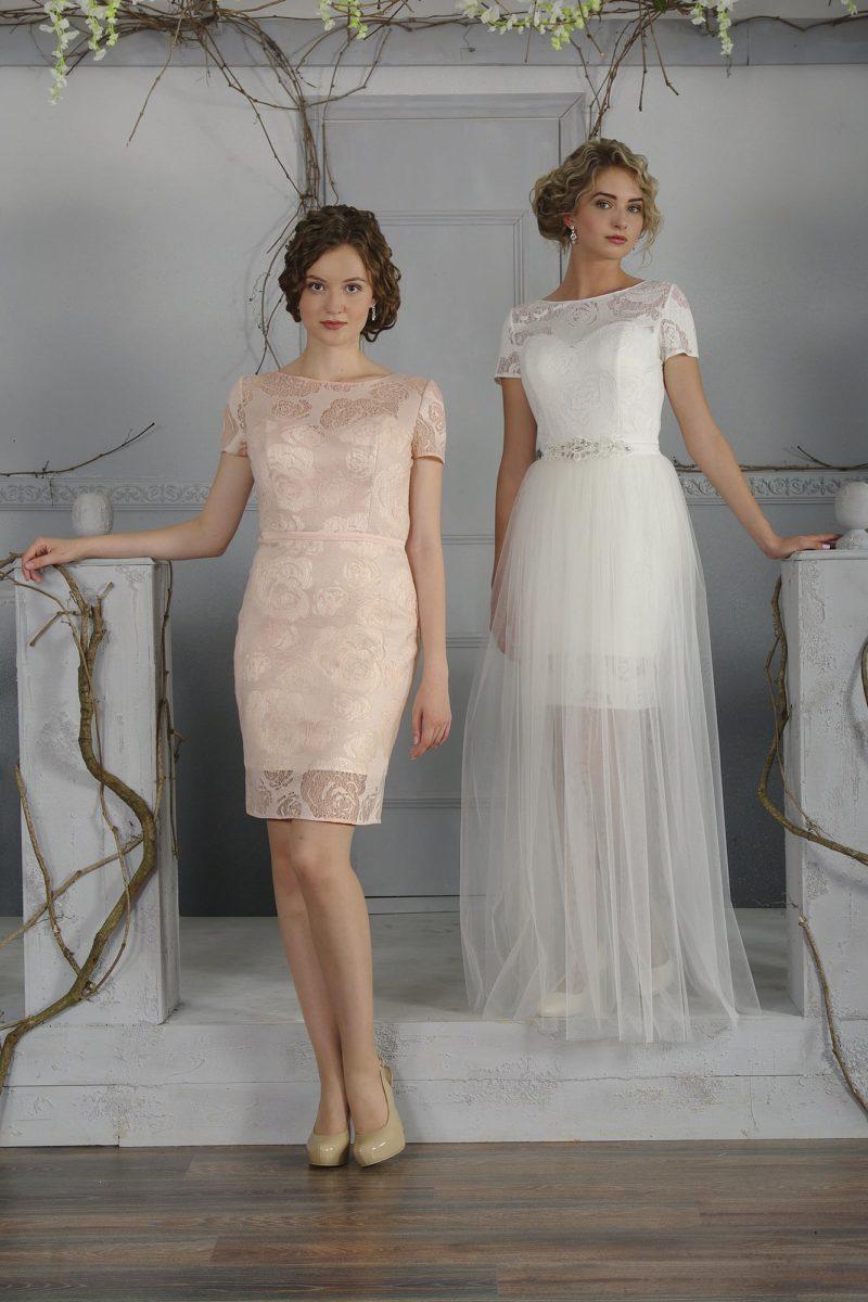 Стильное свадебное платье прямого кроя с верхней юбкой из шифона и коротким рукавом.