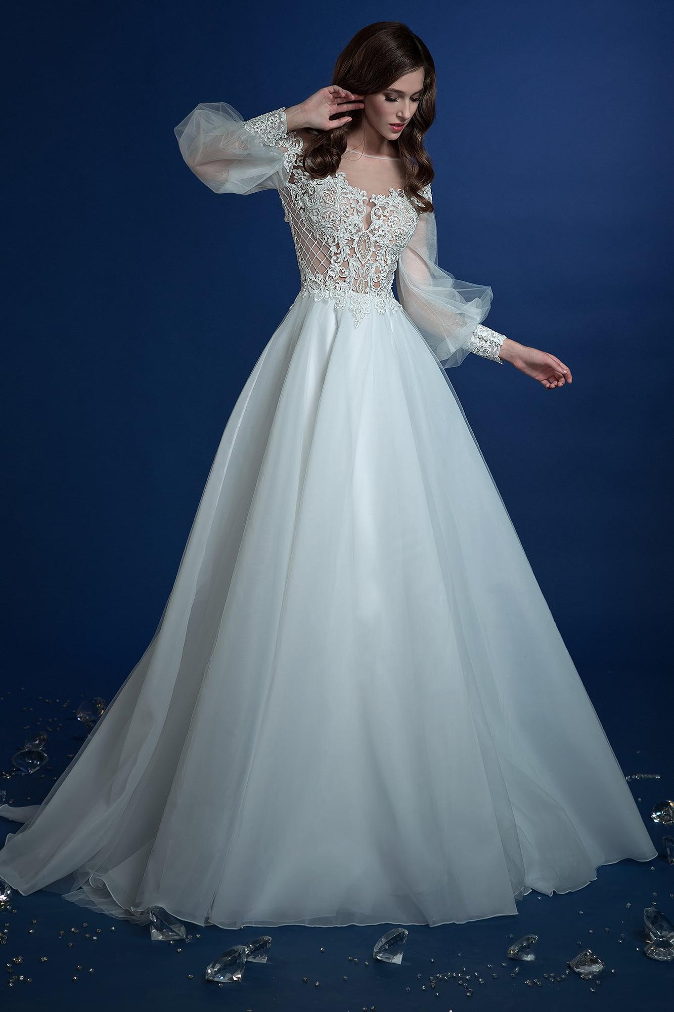edaa0386453 ▷▷Пышное свадебное платье с широким прозрачным рукавом и кружевом на корсете.  ❤ Более