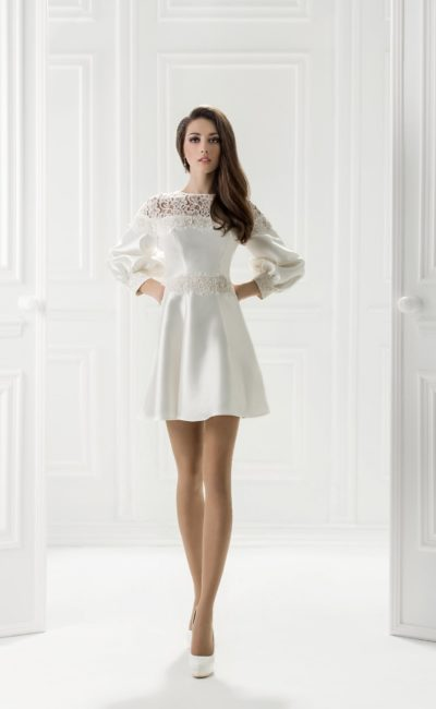 57215588634 Короткое белое платье Сабина