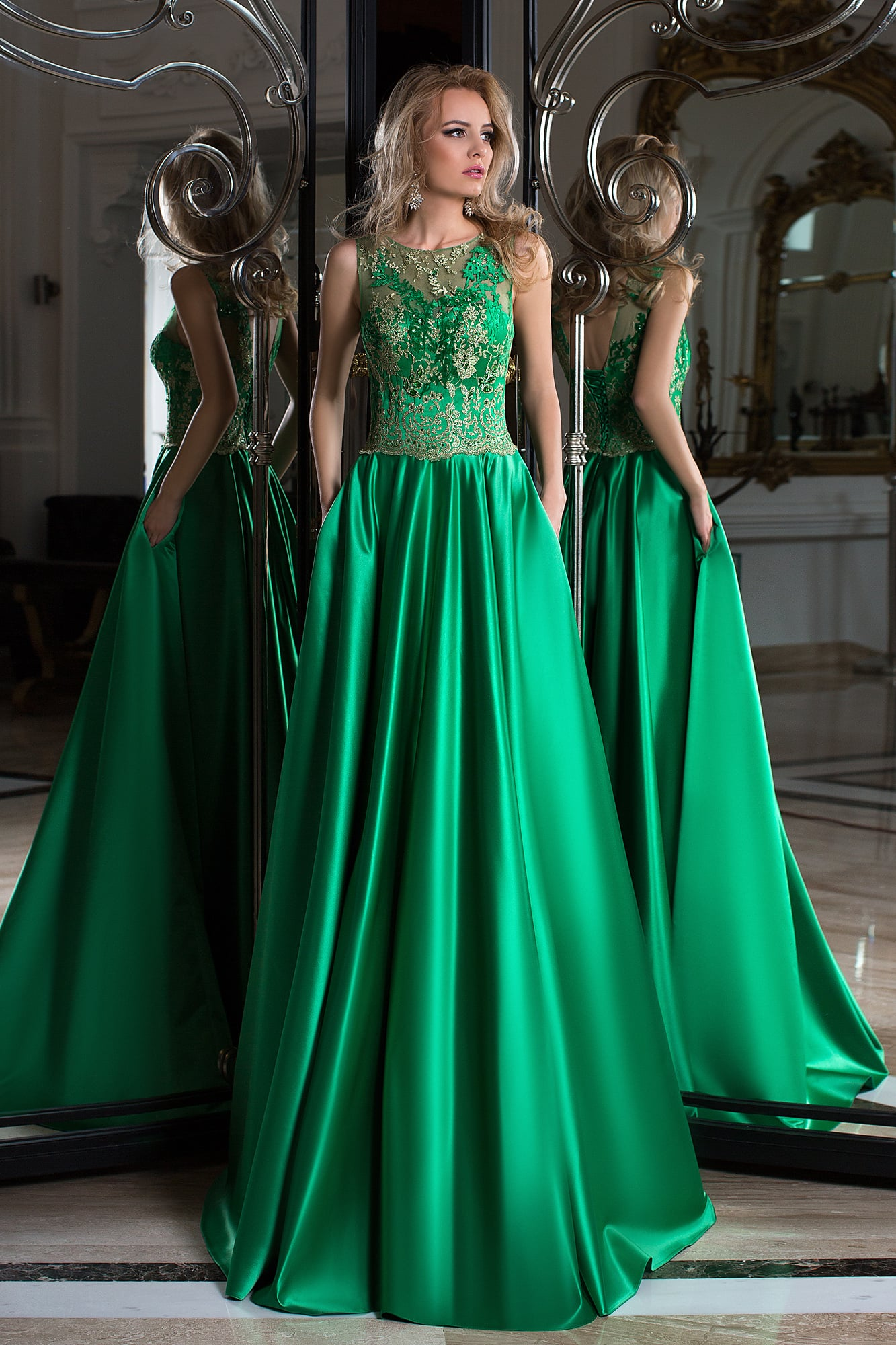 Вечерние зеленое длинные платья