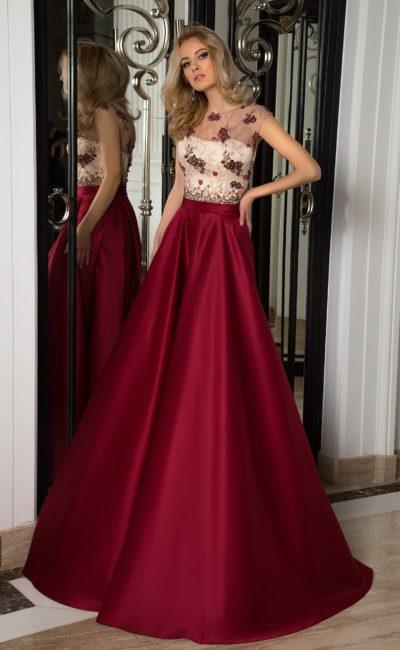 Бордовое выпускное платье