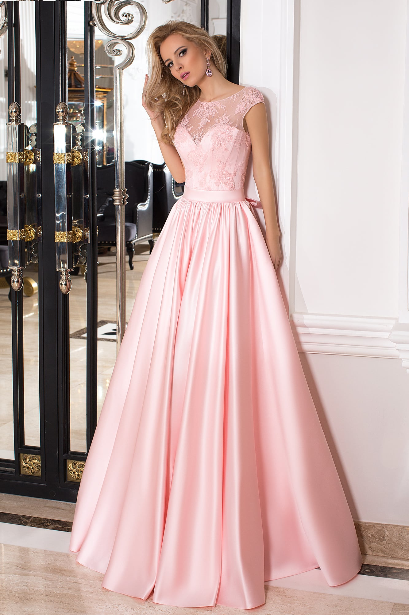 5707988a0b8 Розовое выпускное платье Oksana Mukha 16-993. Купить вечернее платье ...