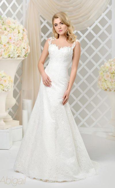 Свадебное платье «рыбка» с ажурным декором и открытым лифом с прозрачной вставкой.