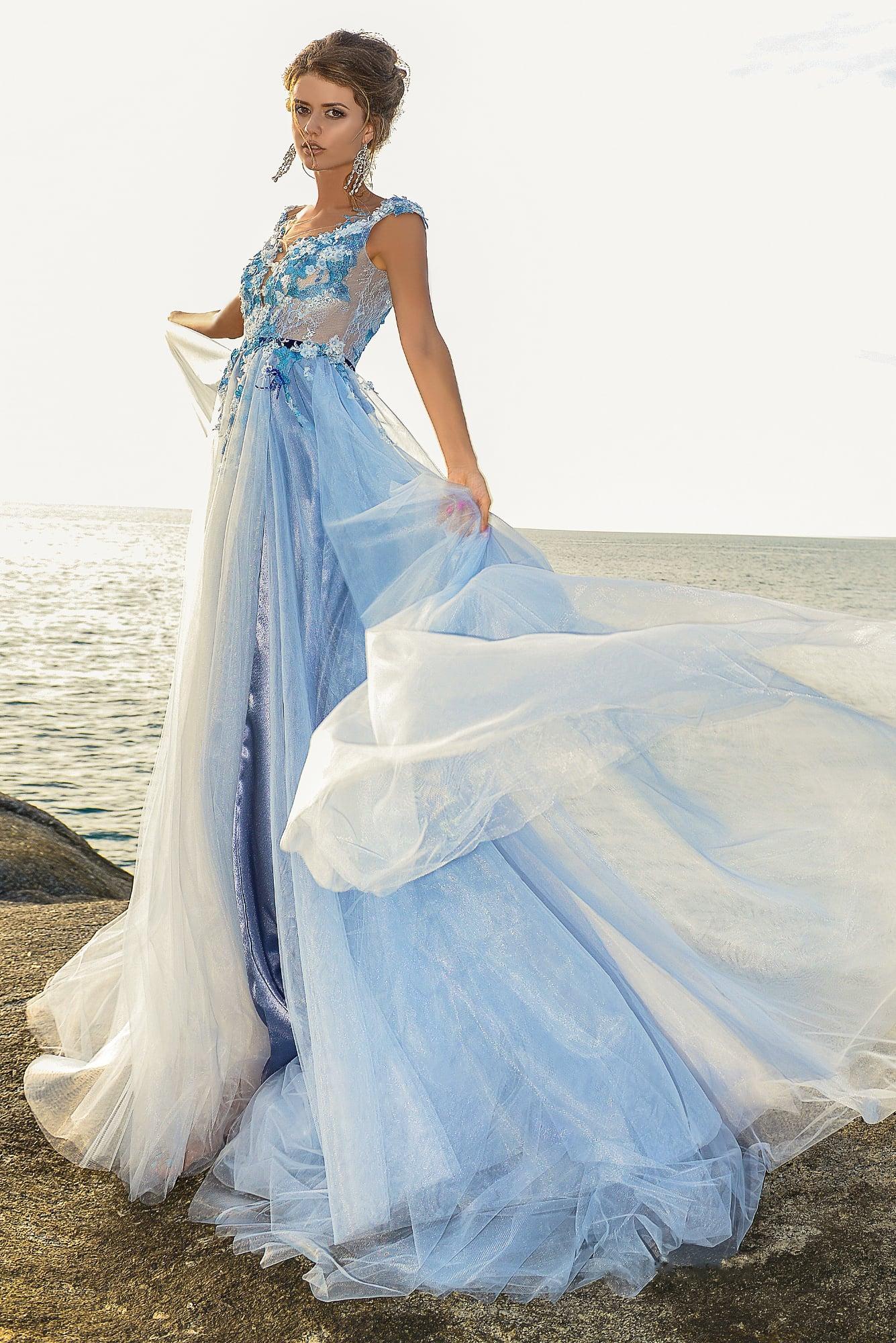 Голубое свадебное платье недорого