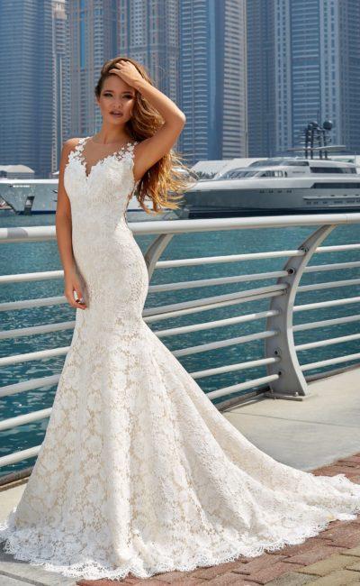 Свадебное кружевное платье русалка