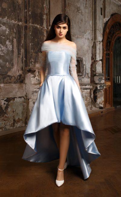Короткое голубое свадебное платье