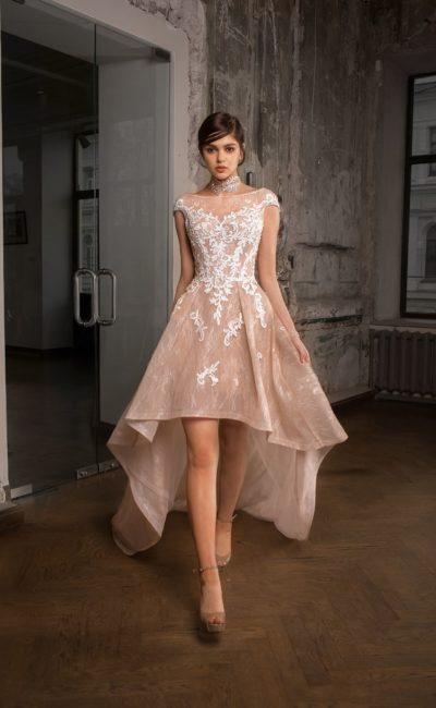 Короткое спереди свадебное платье