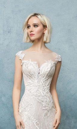 Роскошное свадебное платье с коротким рукавом, вышивкой и пышной юбкой-трансформером.
