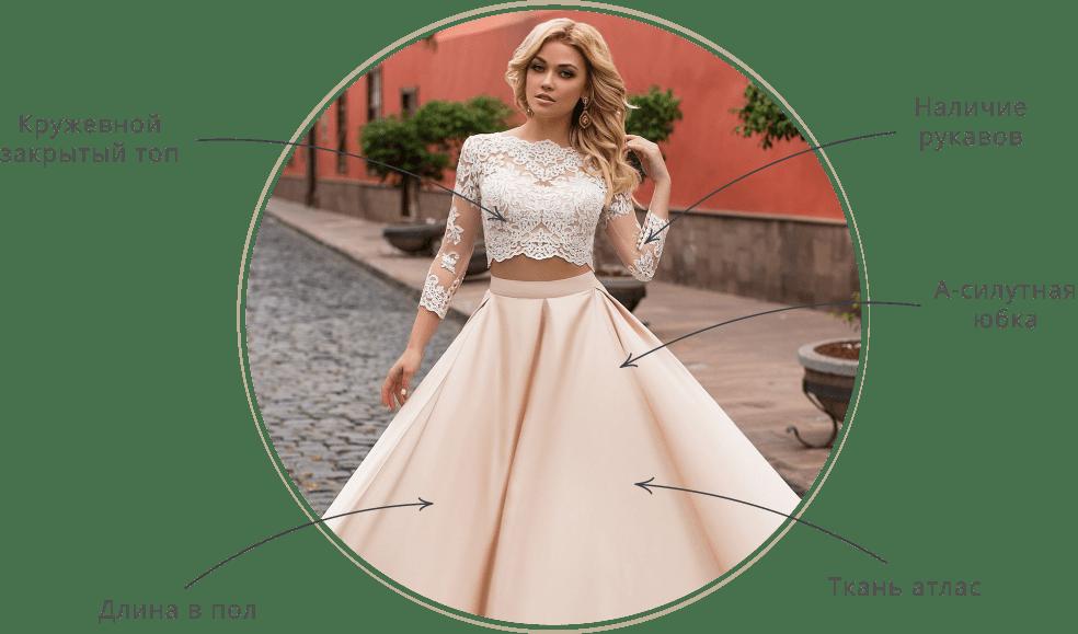 4026e3feec09ab8 Раздельные свадебные модели – также их называют платья-двойки – встречаются  и в уличных луках, и на подиумах известных домов моды.
