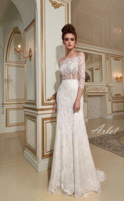 Платье свадебное с кружевным рукавом