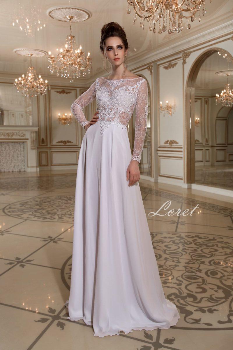 Прямое свадебное платье с небольшим шлейфом и полупрозрачным кружевным верхом.