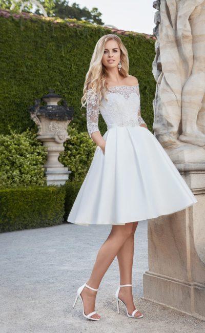Короткое свадебное платье с карманами