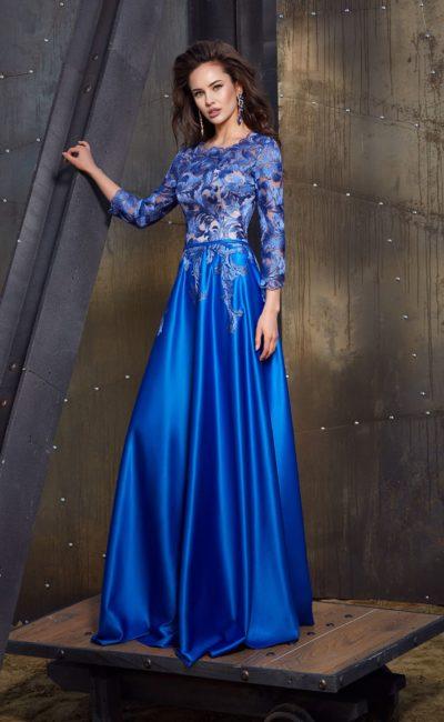 c5ae7edd976 Синее вечернее платье с рукавами Katalunya