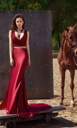 Красное платье кроп-топ