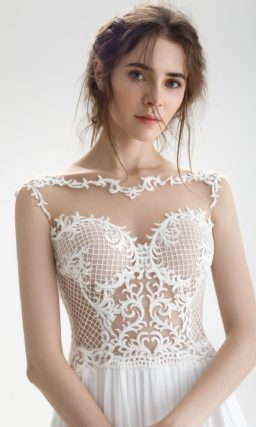 Свадебное платье с верхом с сеткой