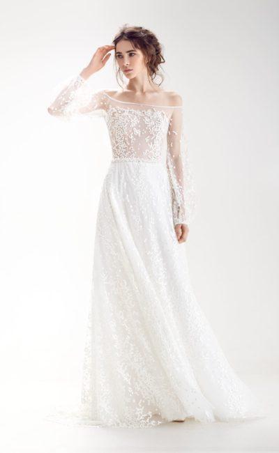 Свадебное платье с оригинальной отделкой верха
