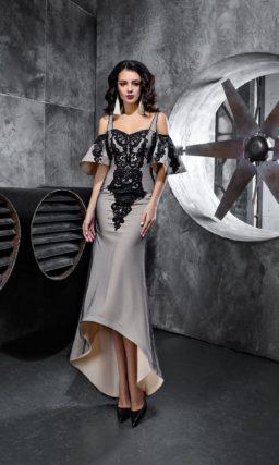 Серое вечернее платье с черной кружевной отделкой и оригинальным верхом.