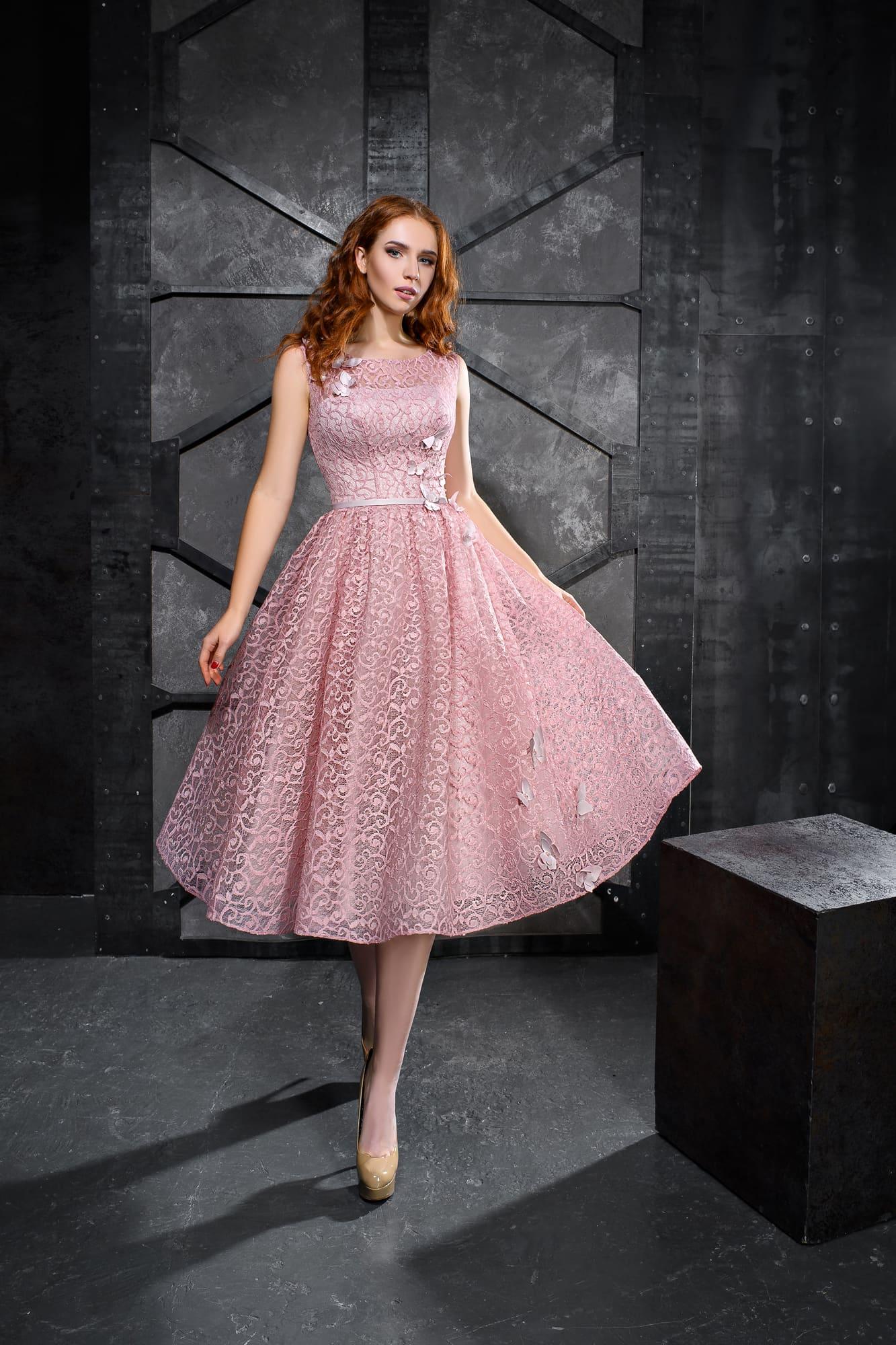 36c97fc3321 Розовое кружевное короткое платье Kira Nova Ариадна. Купить вечернее ...