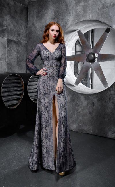 Платье в пол с рукавом